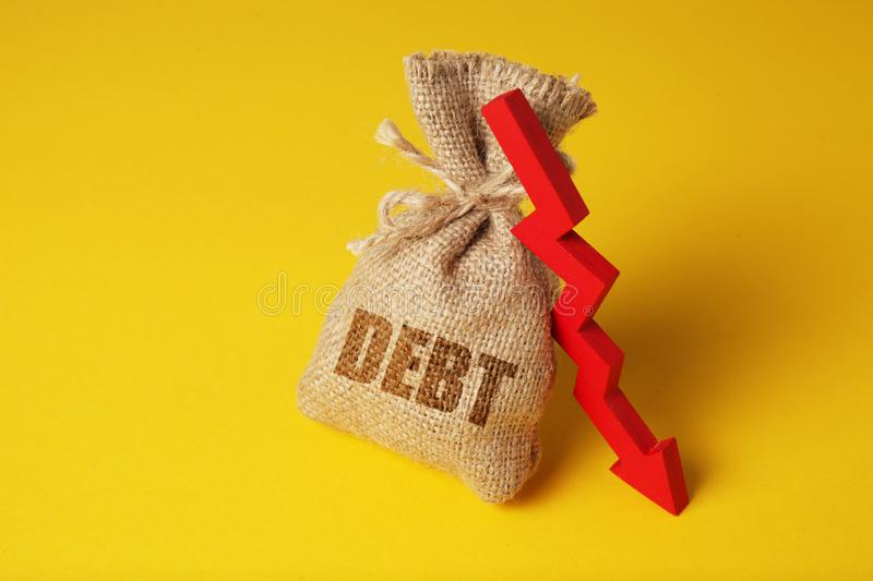 Taxes and interest on debt payments. Overdue payments, penalties. Red arrow down.  stock photography