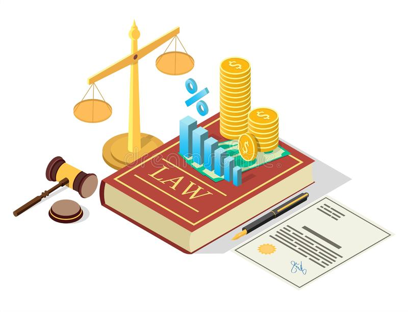 Taxes law vector concept flat isometric illustration. Taxes law vector concept illustration. Isometric legal and financial symbols Law book with stack of coins royalty free illustration
