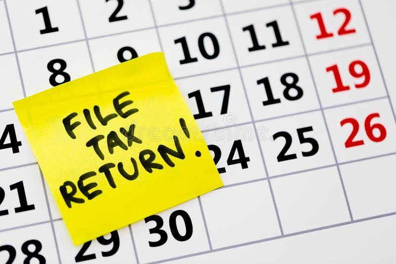Taxes. Tax return file self post end royalty free stock photos