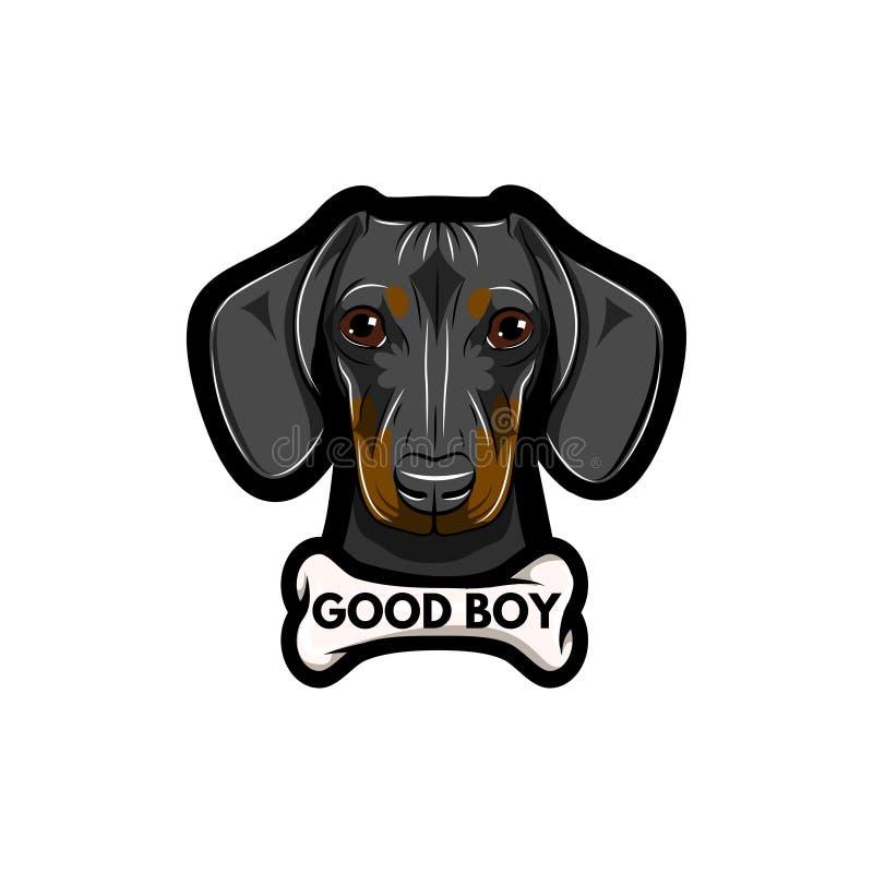 Taxhund med benet Bra pojkeinskrift Illustrerad vektor stock illustrationer