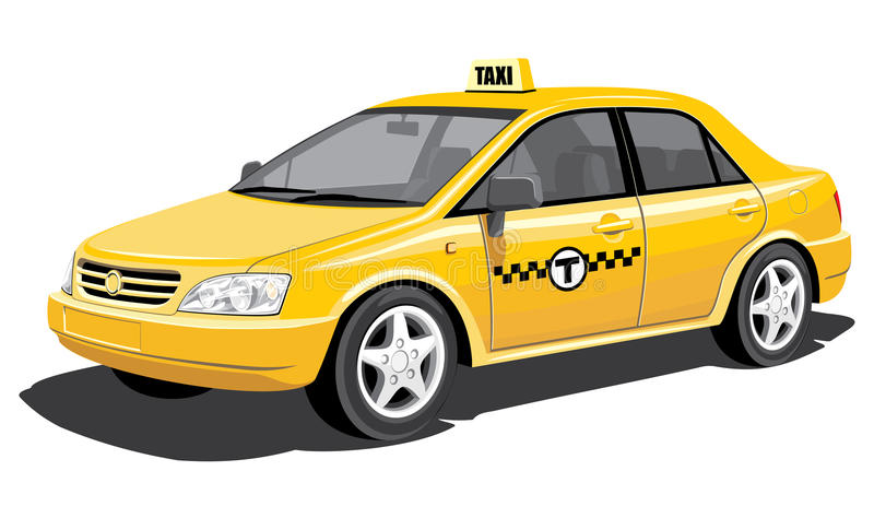 Taxi. Vector yellow taxi without gradients