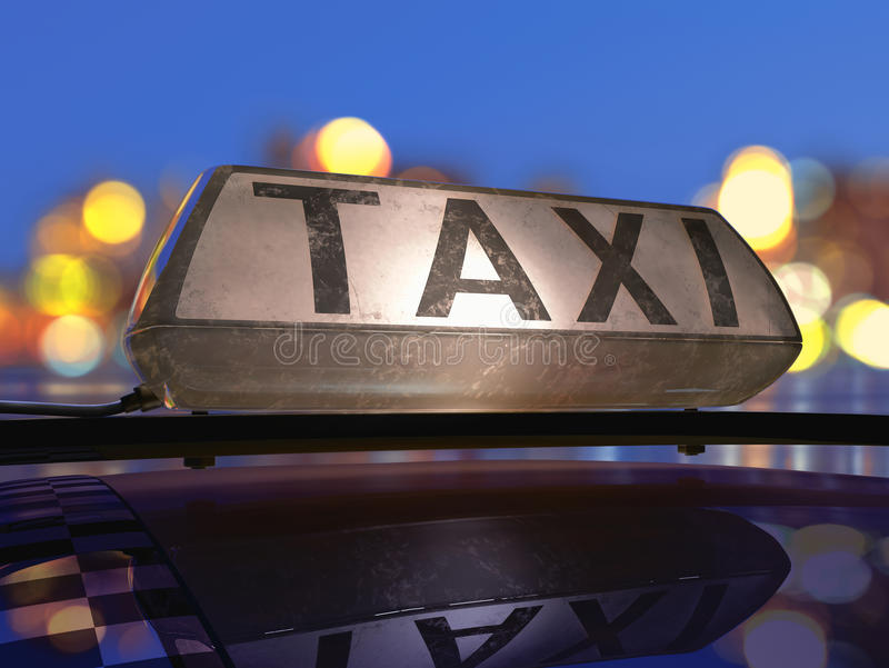 Download Taxi stock illustration. Image of driver, station, neon - 28259448