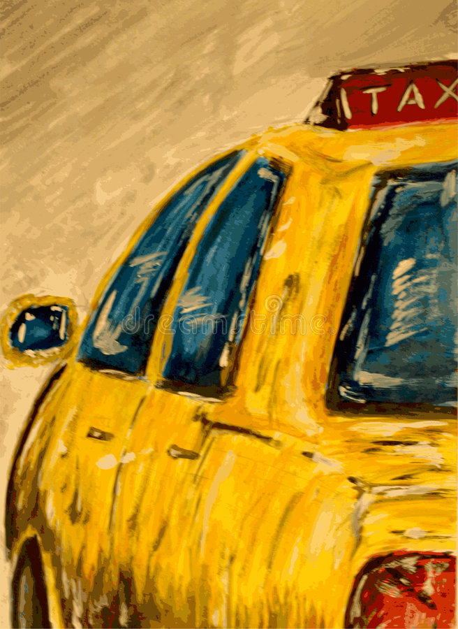Taxi. A hand painted vector illustration of a yellow taxi vector illustration