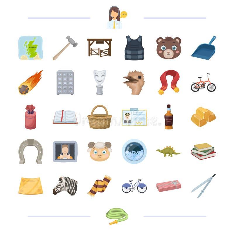 Taxi, animal, récompense, crime et toute autre icône de Web dans le style de bande dessinée alcool, éducation, icônes de propreté illustration libre de droits