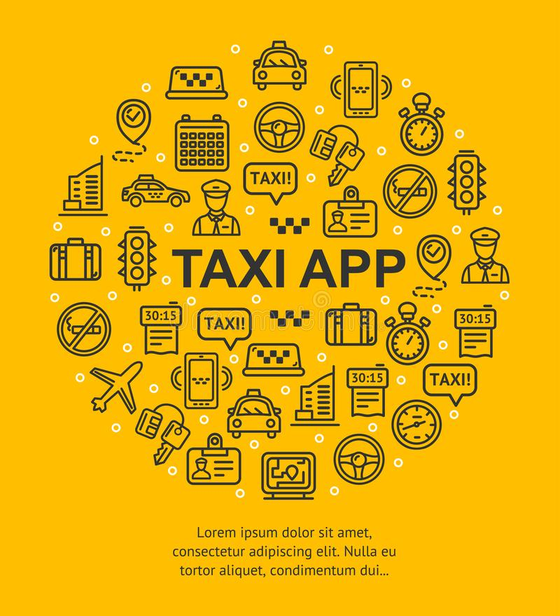 Taxi App Banner Round Design Template Thin Line Icon Concept. Vector stock illustration