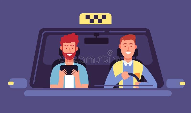 Taxi app Cliente y taxista dentro de la cabina del taxi Fondo del vector del uso del smartphone de la reservación del taxi stock de ilustración