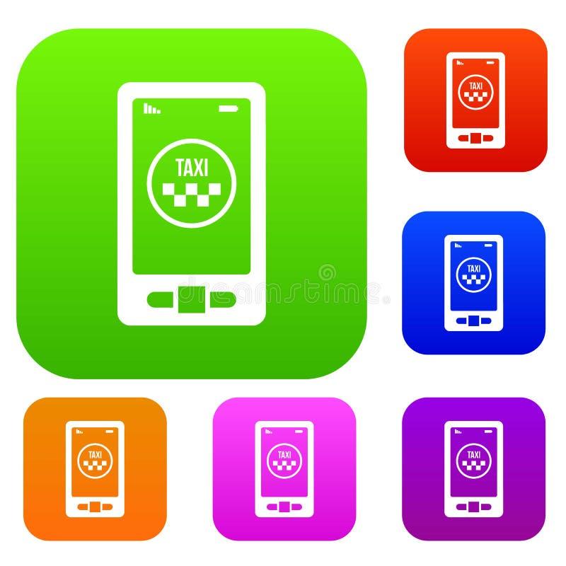 Taxi app en la colección del sistema de teléfono ilustración del vector