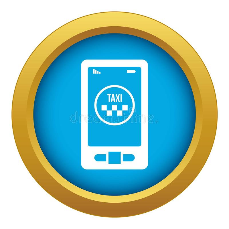 Taxi App im blauen Vektor der Telefonikone lokalisiert stock abbildung