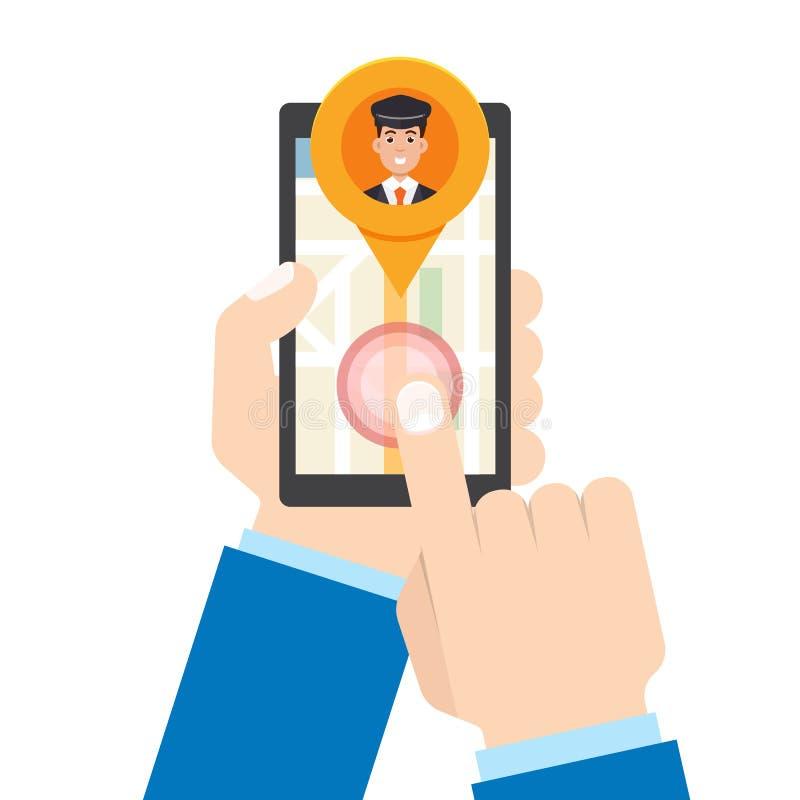 Taxi app móvil La mano del hombre sostiene smartphone stock de ilustración