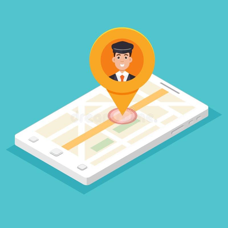 Taxi APP mobile Smartphone isométrique avec la goupille de chauffeur de taxi illustration stock
