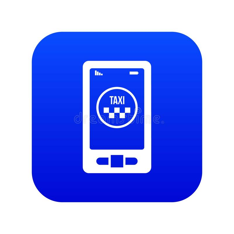 Taxi app in telefoonpictogram digitaal blauw stock illustratie