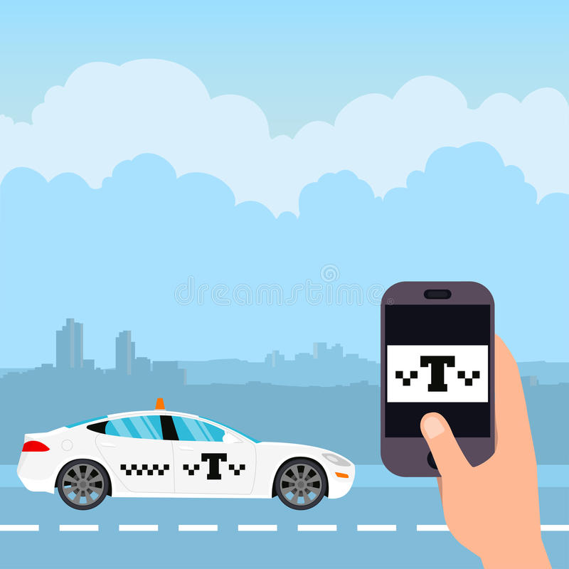 Taxi app. White taxi on the background of the city. Mobile taxi order app. Vector illustration in a flat style stock illustration