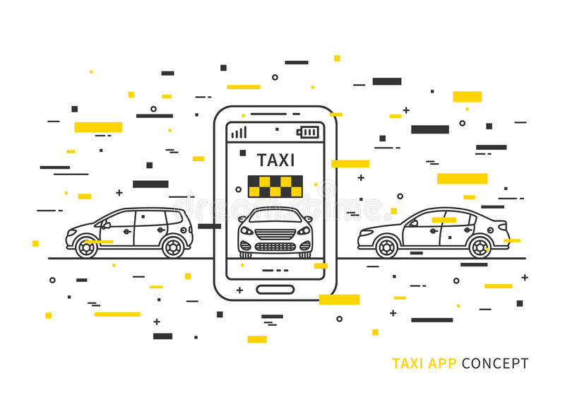Taxi application on mobile phone vector illustration vector illustration