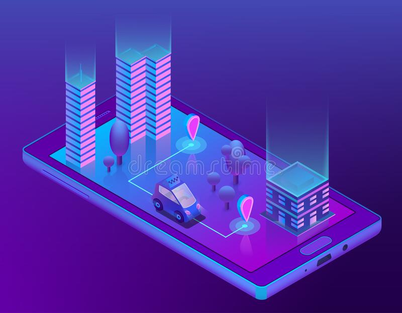 Taxi astuto isometrico app di vettore per lo smartphone royalty illustrazione gratis