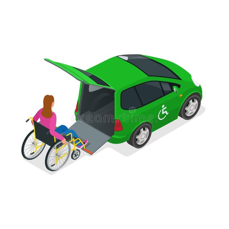 Taxi of auto voor vrouw op rolstoel Voertuig met een lift Miniauto voor fysisch gehandicapten Vlakke 3d Vector stock illustratie