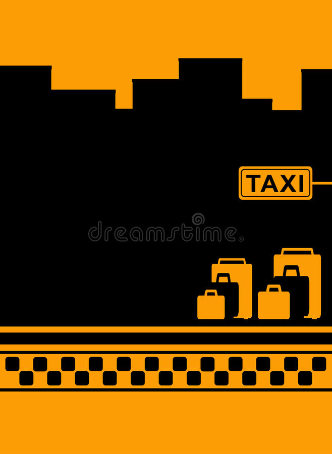 Taxi background with luggage and cab symbol royalty free illustration