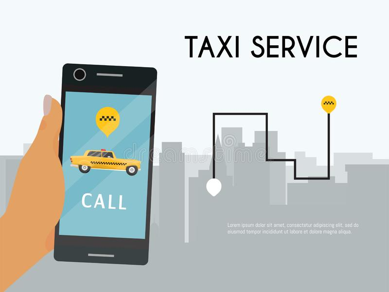 Taxi banner online mobile application order taxi service hand with phone vector illustration. Traffic transportation royalty free illustration
