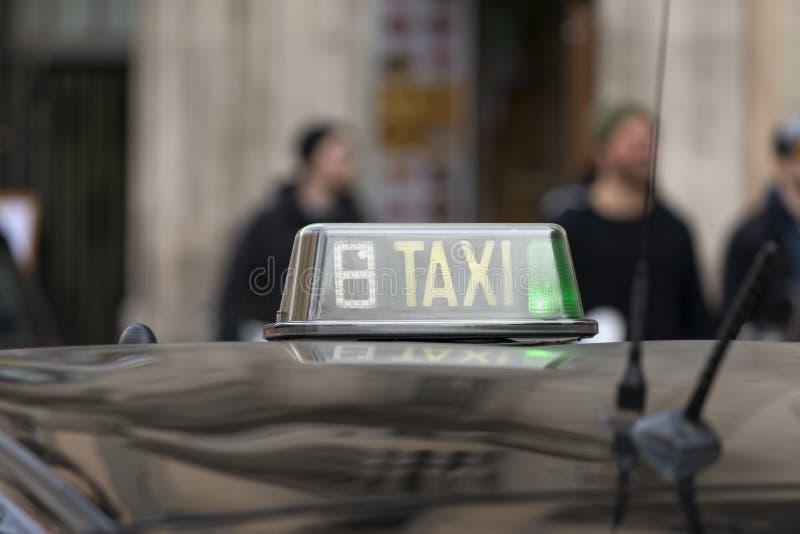 Taxi blurs symbol in Barcelona, Catalunya, Spain. Taxi symbol in Barcelona, Catalunya, Spain stock photography