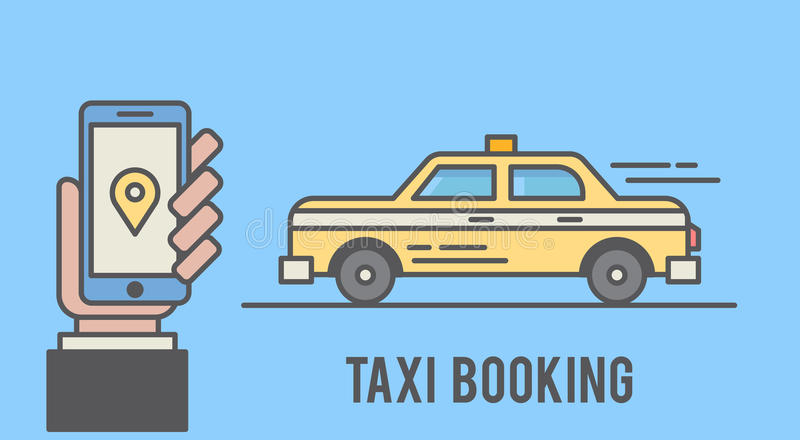 Taxi booking with mobile phone interface. Flat line styled illustration.  vector illustration