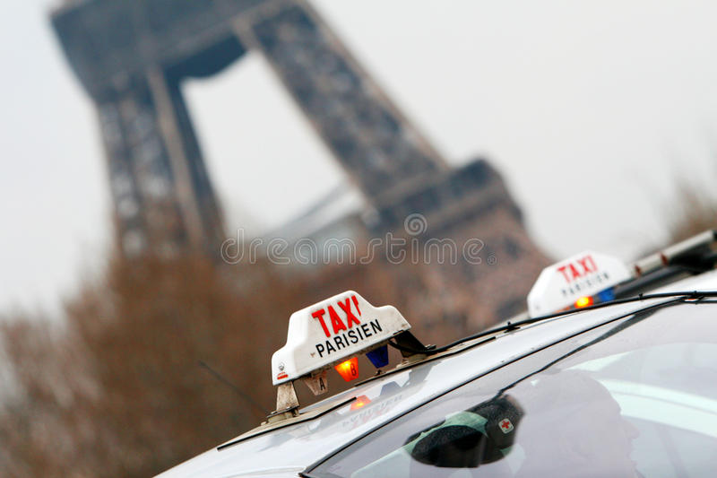 Taxi cab. Two taxi cabs in Paris, France royalty free stock photography