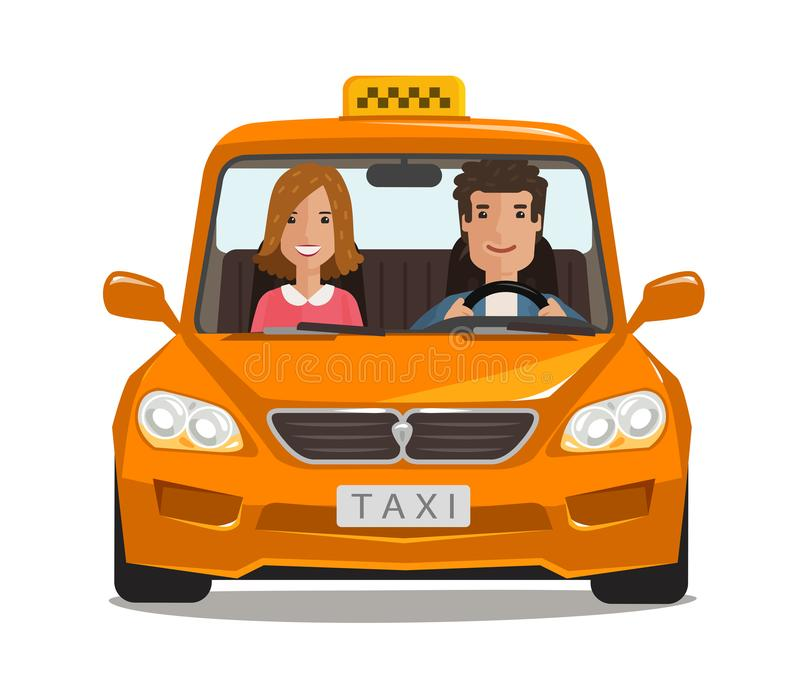 Taxi, cab, car cartoon. Transportation concept. Vector illustration. Isolated on white background royalty free illustration