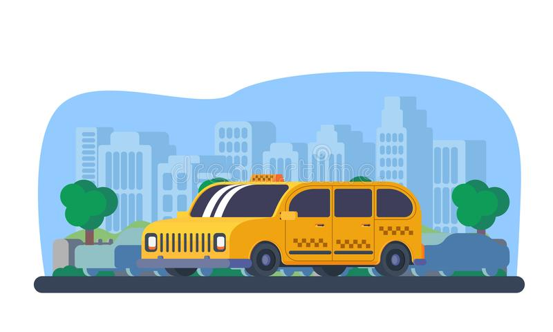 Taxi cab in city. Social taxi cab with city background. Taxi service for people with disabilities. Car for transportation passangers vector illustration