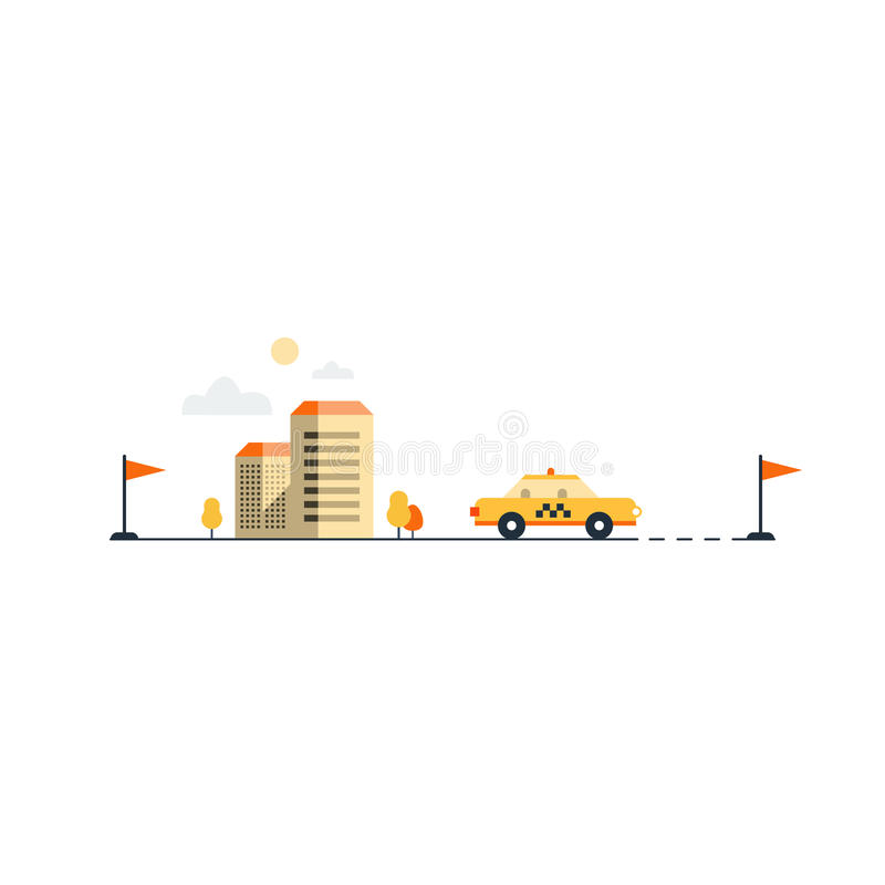 Taxi cab delivery. City taxi service. Hire a car. Commute by car. Yellow cab, vector illustration stock illustration
