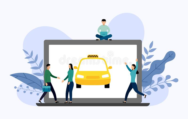Taxi cab with human concepts. Travel vector illustration royalty free illustration