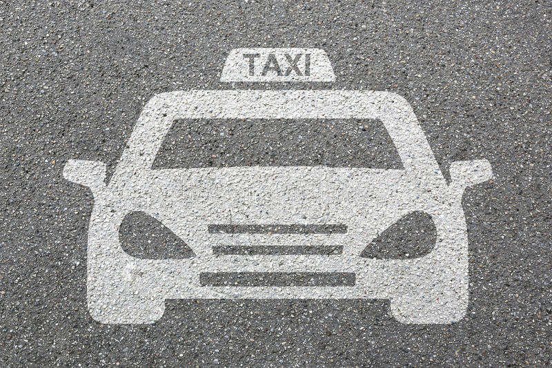 Taxi cab icon sign logo car vehicle street road traffic city mob stock photography