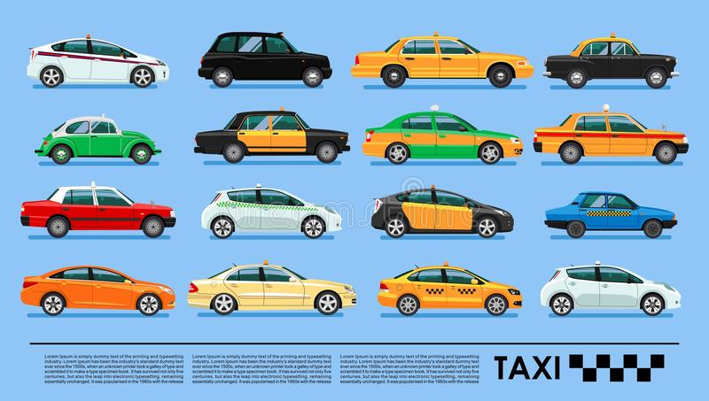 Taxi cab icons set poster or banner, China, UK, USA, Korea, Australia, Brasil, Spain, Russia, Egypt, India, Hong Kong, Mexico, stock illustration