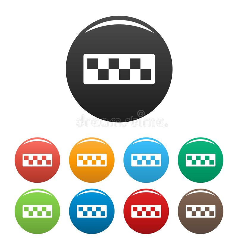 Taxi cab icons set. Simple set of taxi cab icons in different colors isolated on white vector illustration