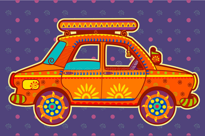 Taxi cab in Indian art style. Vector design of Taxi cab in Indian art style vector illustration