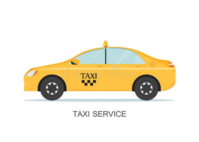 Taxi cab isolated on white background. Taxi cab isolated on white background, taxi service concept, flat style illustration royalty free illustration