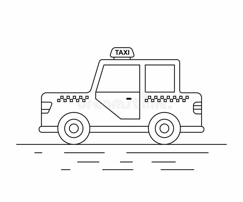 Taxi Cars. line icon. Taxi cab isolated on white background. Taxi service. City transport vector illustration