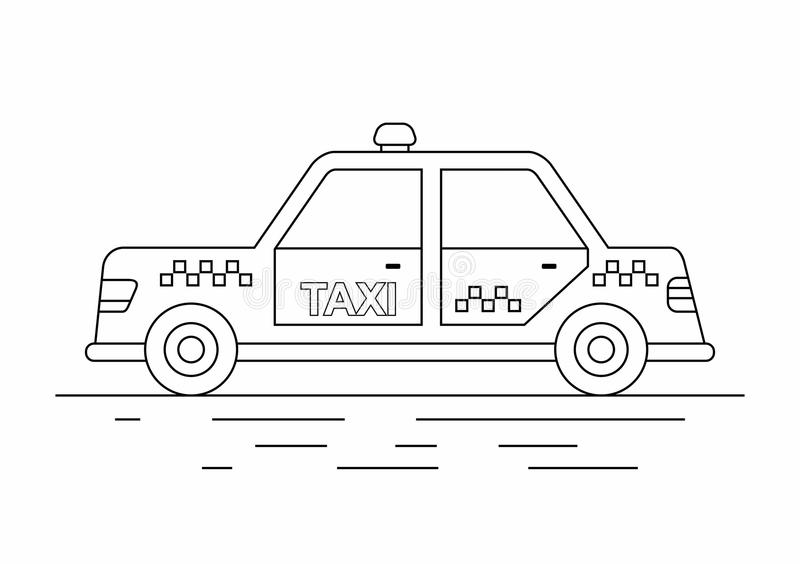 Taxi Cars. line icon. Taxi cab isolated on white background. Taxi service. City transport royalty free illustration