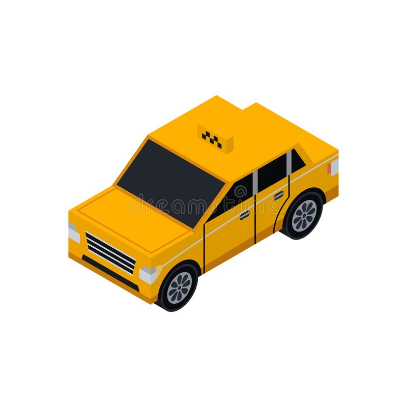 Taxi cab isometric 3D element. Automobile transportation icon, urban and countryside traffic icon vector illustration vector illustration