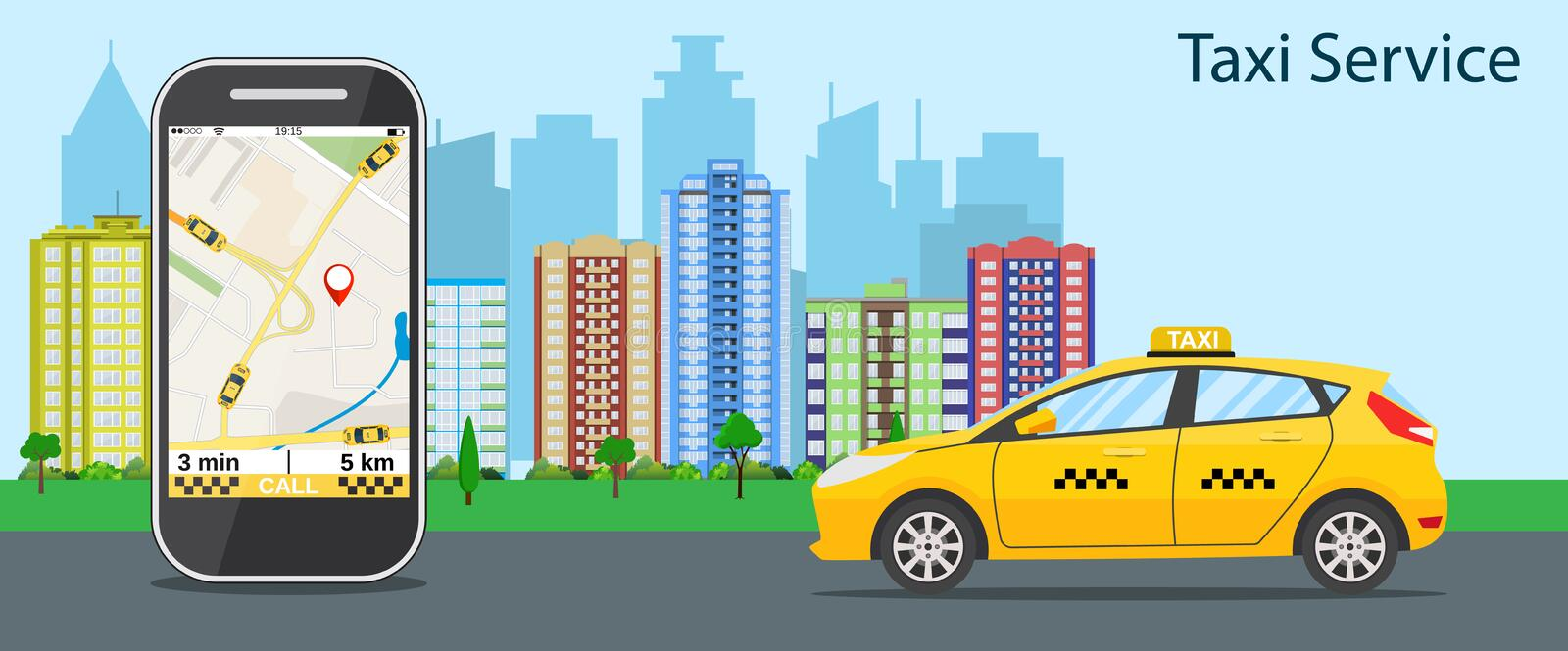 Taxi cab, mobile phone with map. And big city on background, taxi service concept. vector illustration in flat design royalty free illustration