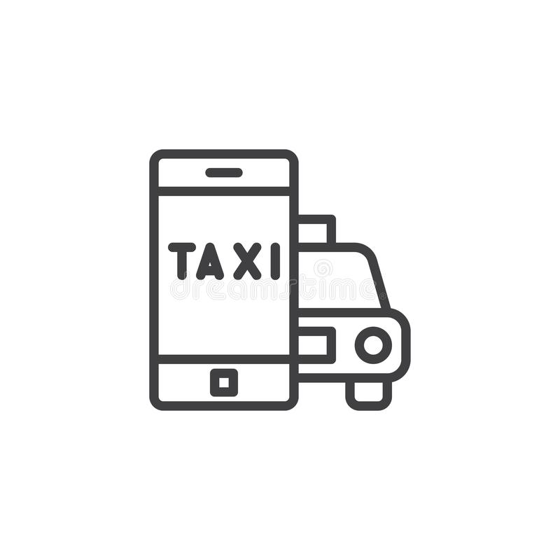 Taxi cab ordering app line icon. Linear style sign for mobile concept and web design. Mobile phone with taxi car outline vector icon. Symbol, logo illustration stock illustration
