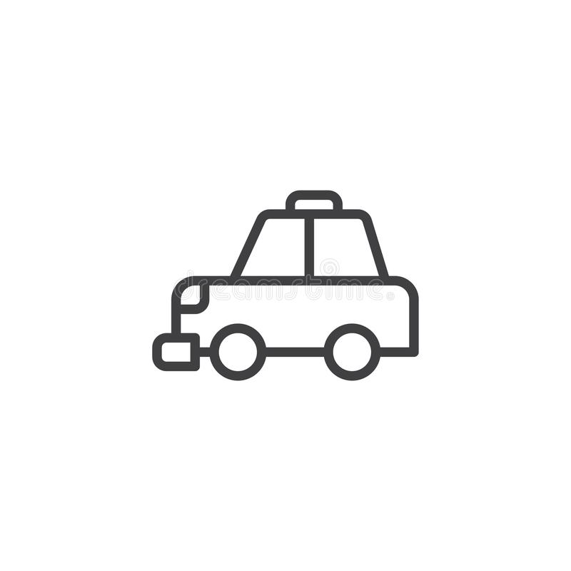 Taxi cab outline icon. Linear style sign for mobile concept and web design. Transportation simple line vector icon. Symbol, logo illustration. Pixel perfect royalty free illustration