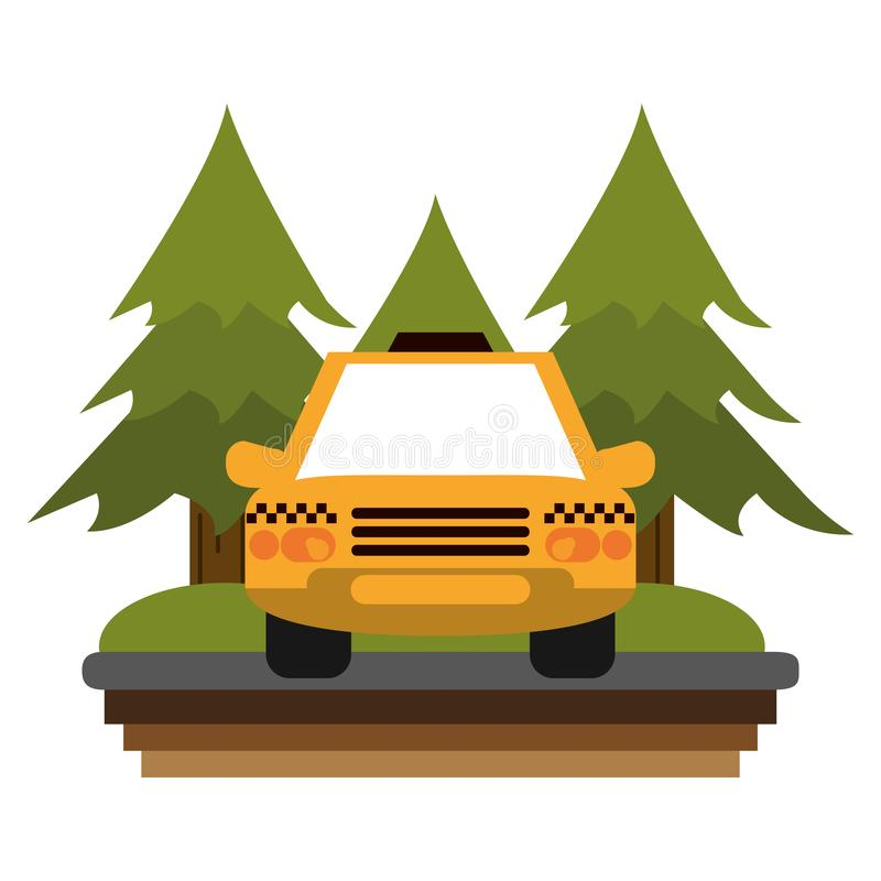 Taxi cab in highway. Taxi cab in rural highway frontview vector illustration graphic design royalty free illustration