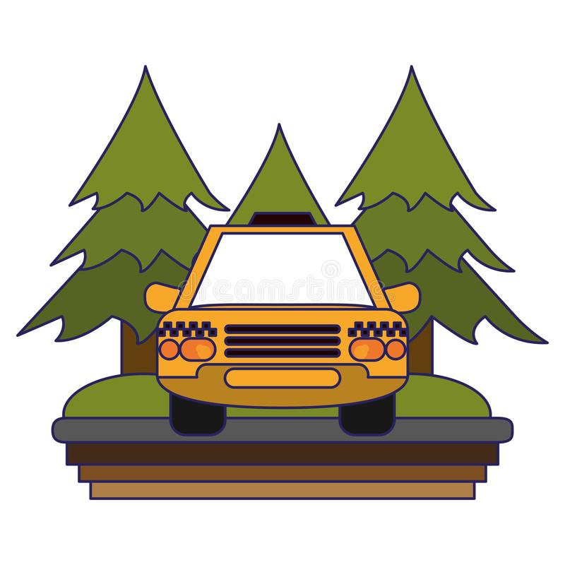 Taxi cab in highway. Taxi cab in rural highway frontview vector illustration graphic design stock illustration