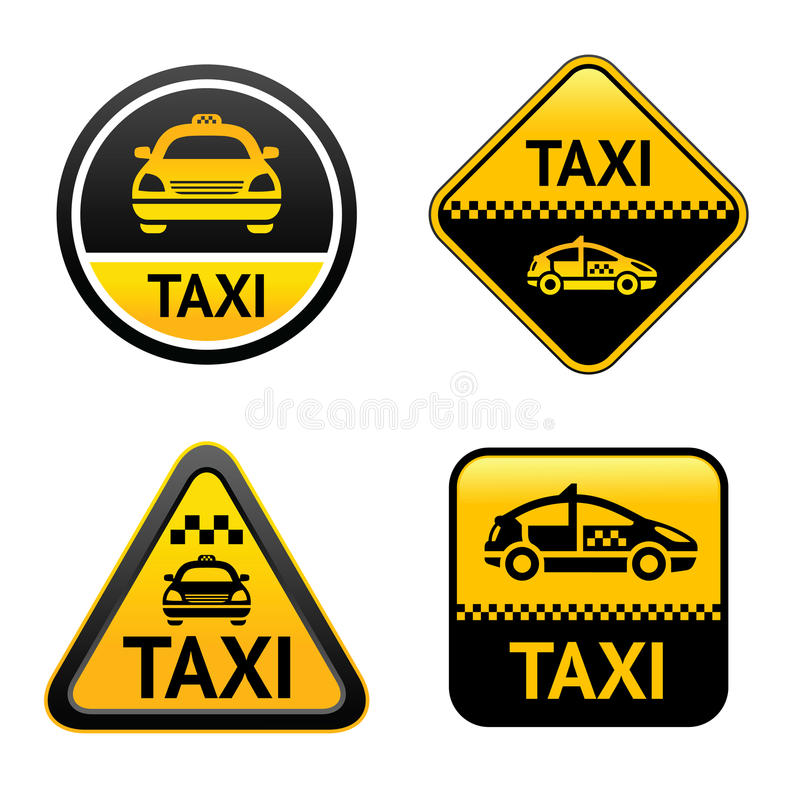 Taxi cab set buttons stock illustration