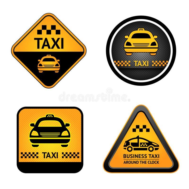 Taxi cab set stickers. Taxi cab set symbols, street orange signs royalty free illustration
