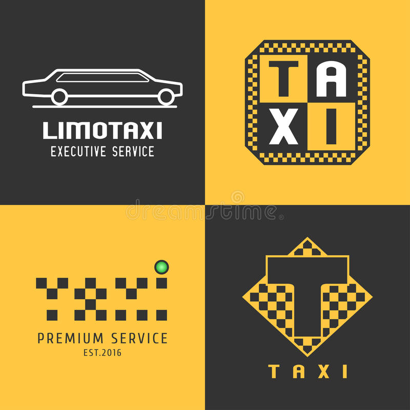 Taxi, cab set of vector logo, design. Car hire black and yellow background, badge, app emblem. Silhouette of car and taxi graphic icon, element, symbol stock illustration
