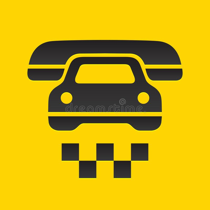Taxi cab sign. Cause a car by phone symbol, vector illustration royalty free illustration