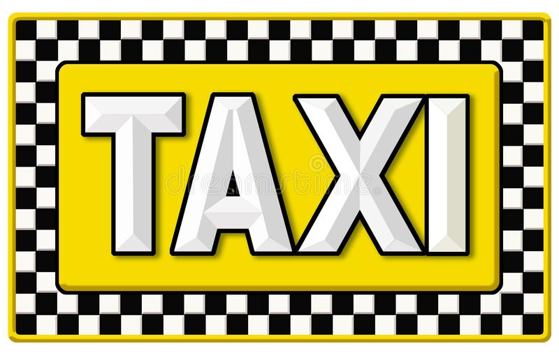 Vintage Taxi Cab Sign. Taxi Cab sign vintage tin New York Checkered Yellow black and white stock illustration