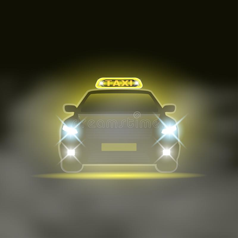 Taxi cab with special sing on the roof and headlights at the night road. Vector illustration royalty free illustration