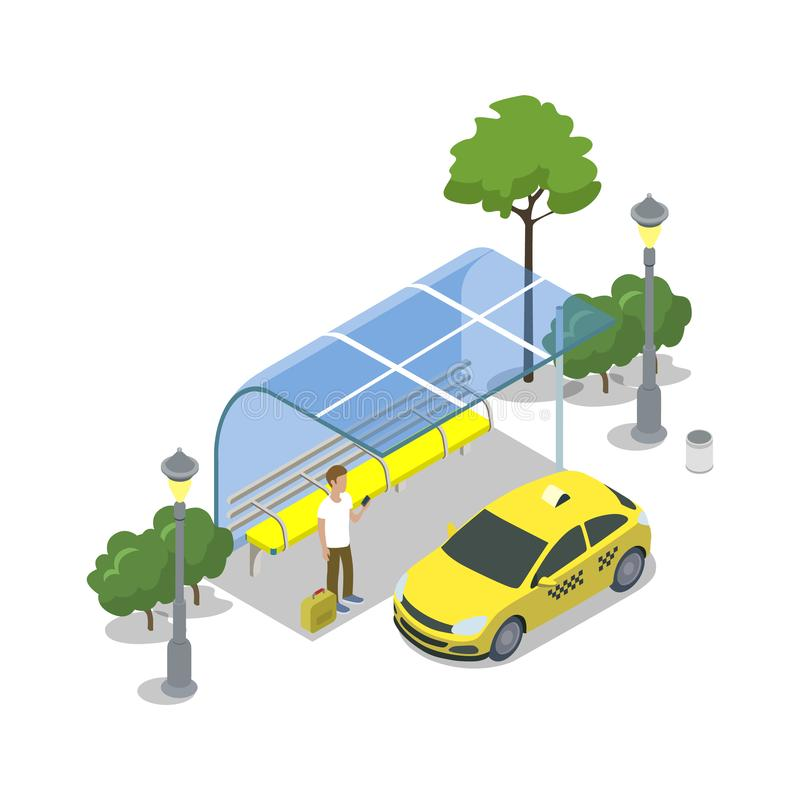 Taxi cab stop isometric 3D icon. City public transport, modern town waiting station, urban and countryside traffic concept with vehicle illustration royalty free illustration
