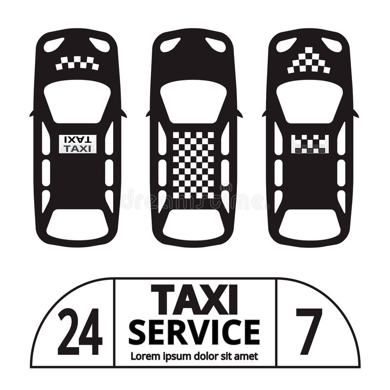 Taxi cab. Top view Taxi cab symbol and sign. Public transport. Vector illustration stock illustration