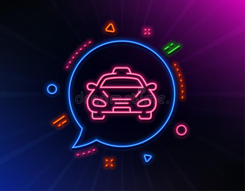 Taxi cab transport line icon. Car vehicle sign. Vector. Taxi cab transport line icon. Neon laser lights. Car vehicle sign. Taxicab driving symbol. Glow laser vector illustration